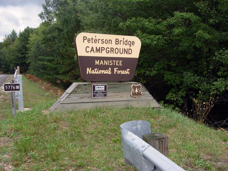 Peterson Bridge Campground Entrance Sign