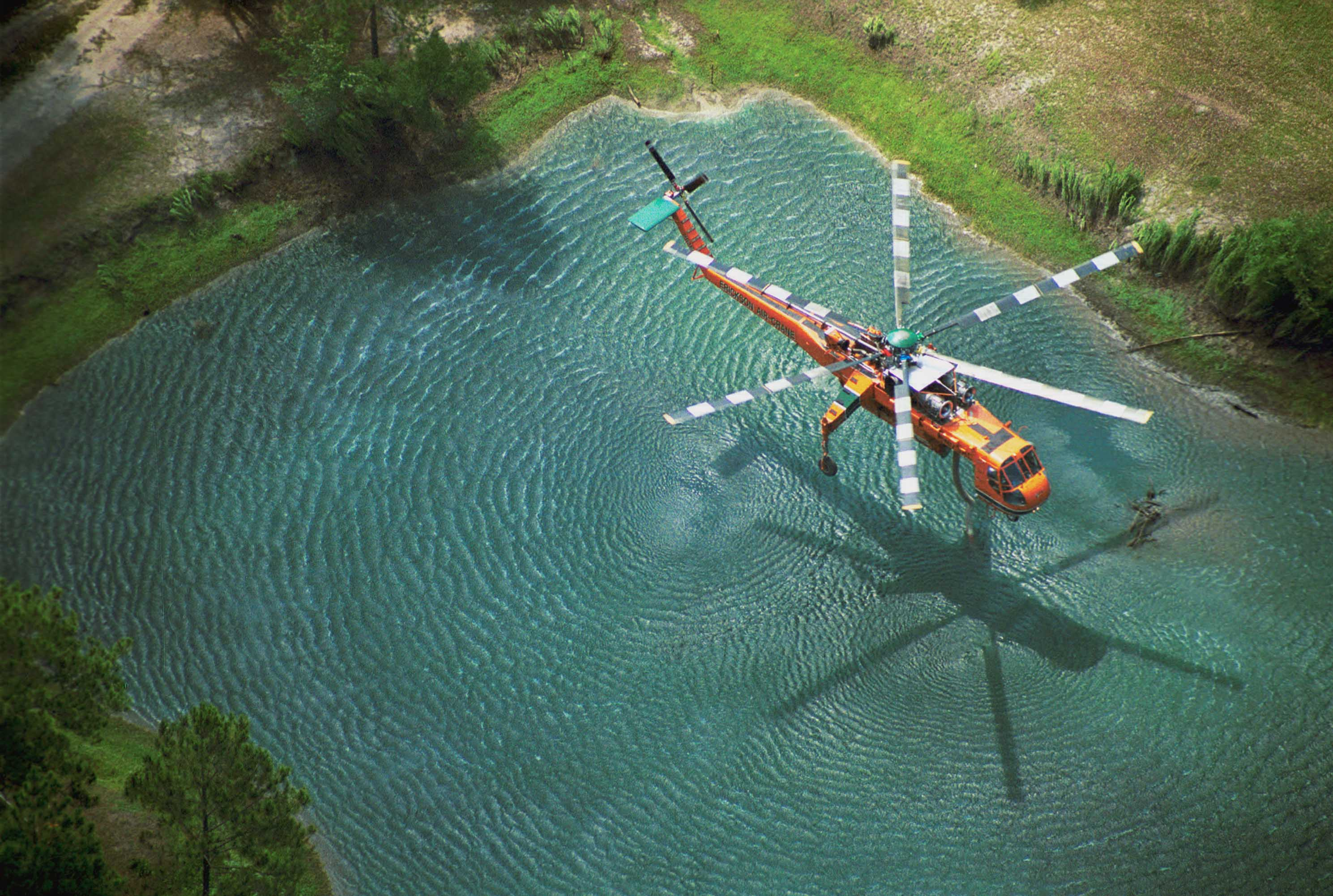 Helicopter getting water
