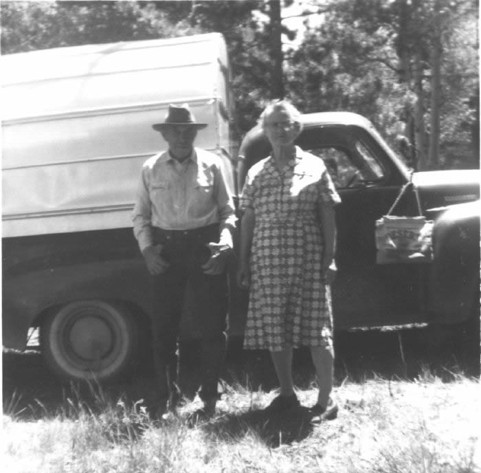 Oscar and Emma in front of their Chevy pickup, the only automobile they ever purchased.  Photo courtesy of Nolan Toone.