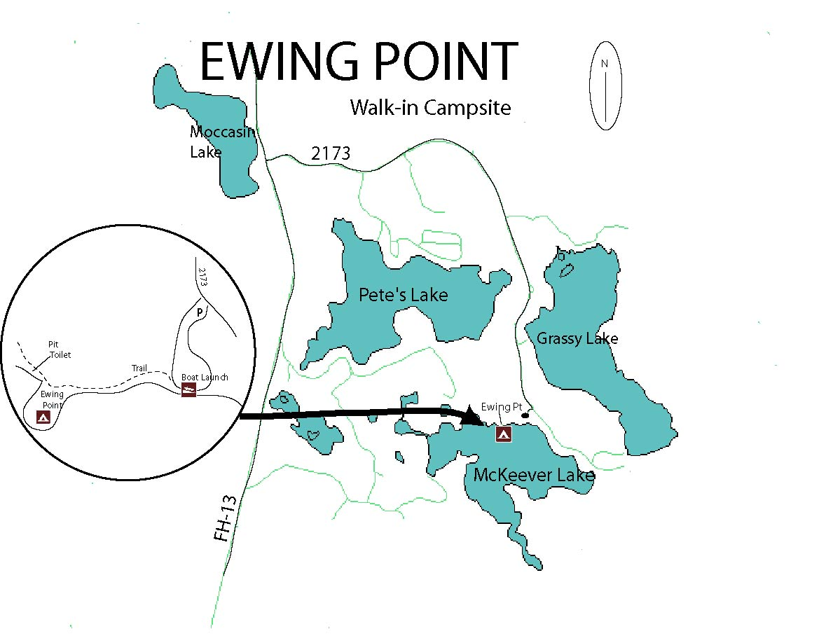 Map of Ewing Point Dispersed Campsite