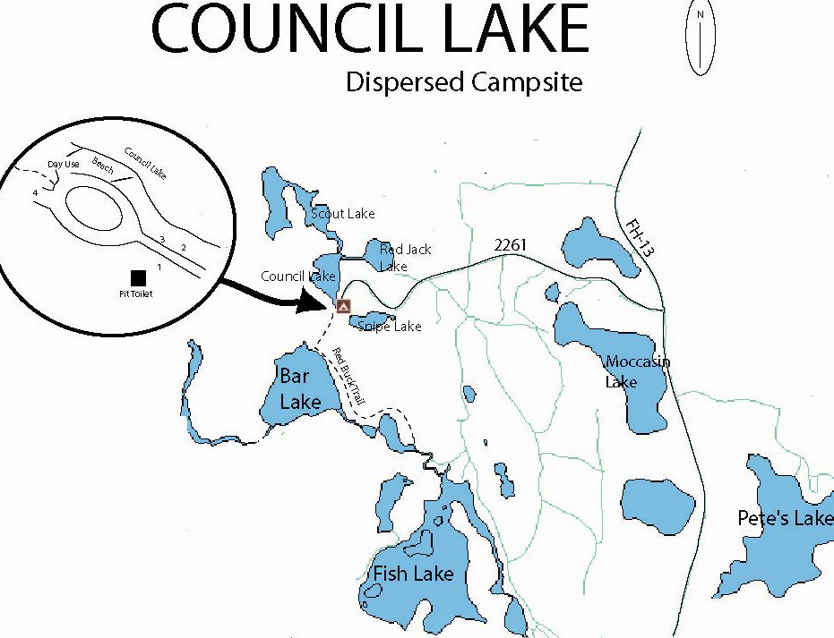 Map of Council Lake Dispersed Campsite