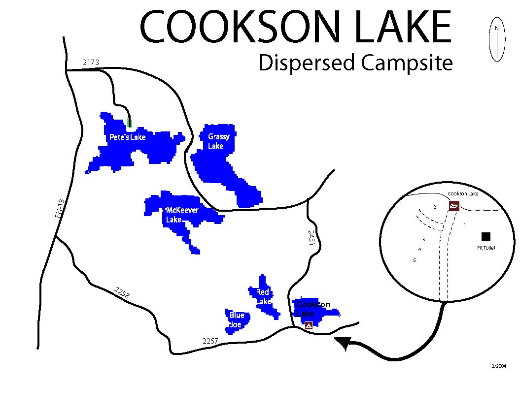 Map of Cookson Lake Dispersed Campsite