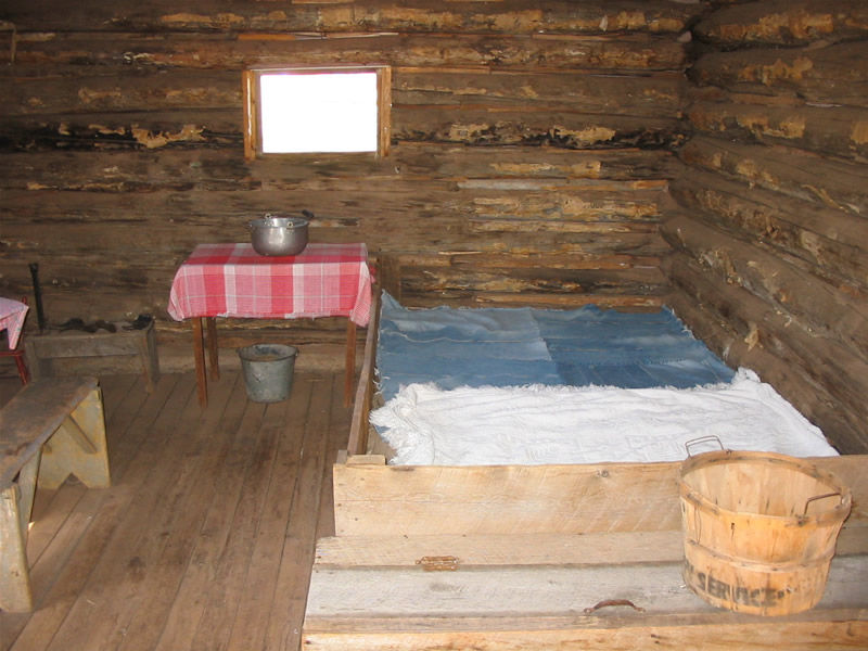 Photo showing the interior of the one-room cabin.