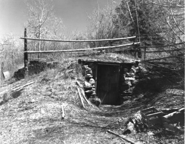 Photo of the root cellar taken in 1971.