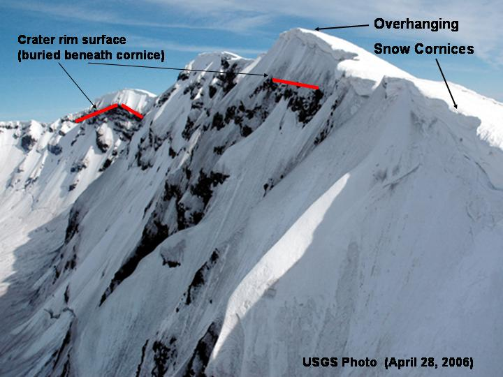 Some Cornices (overhanging snow) on the Crater Rim of Mount St. Helens