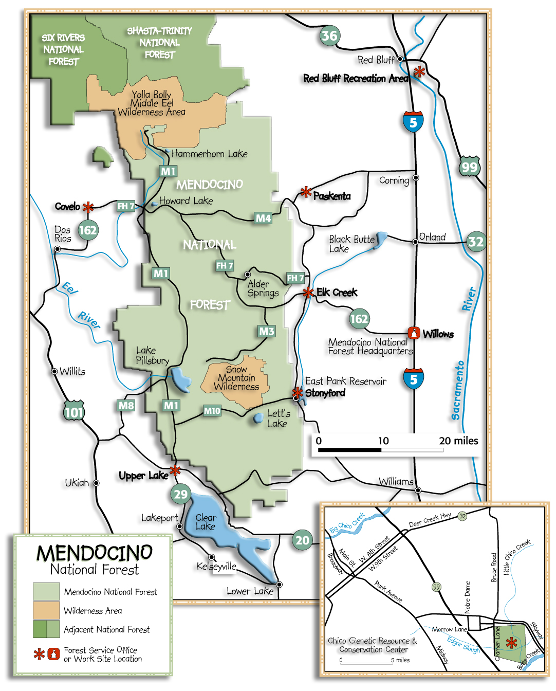 [Graphic]: Map displaying the Mendocino National Forest and surrounding area.