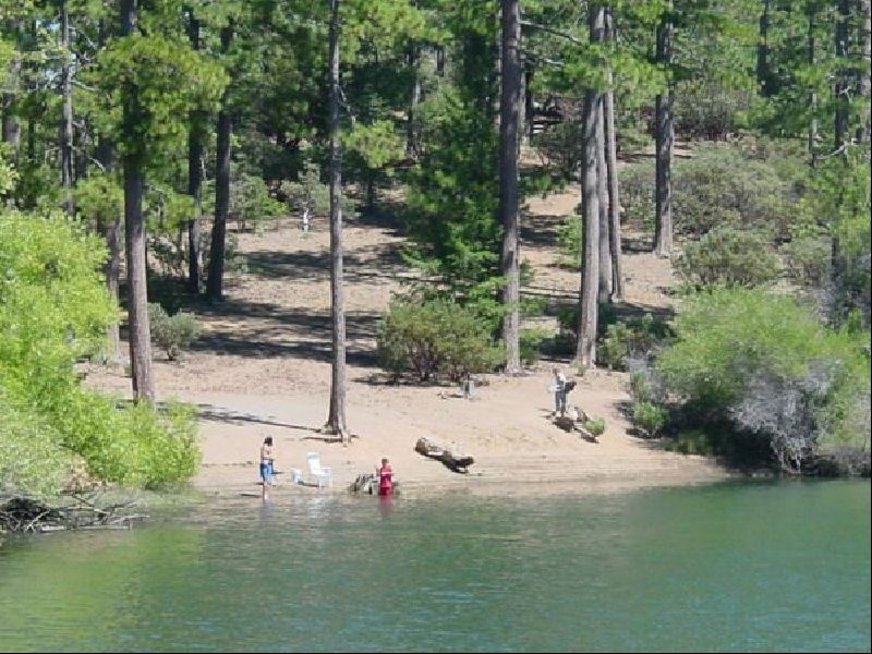 [Photograph]: Family enjoying beach at Letts Lake.