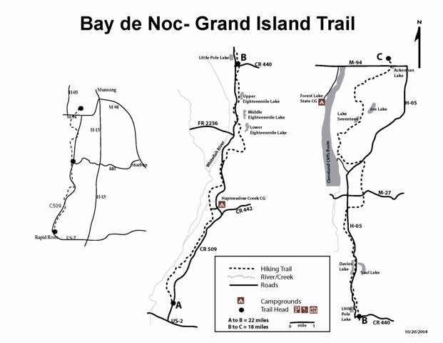 Bay De Noc / Grand Island Trail Map