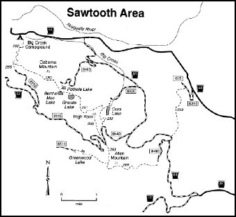 A map depicting trails in the Sawtooth Area.