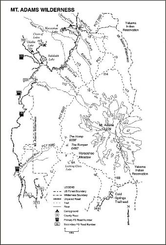 General trail map of the Mt Adams Wilderness area.