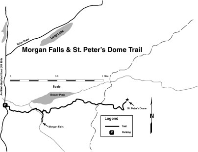 Map of Morgan Falls and St. Peter's Dome Trail