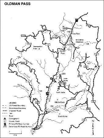 Oldman Pass Area General Trail Map
