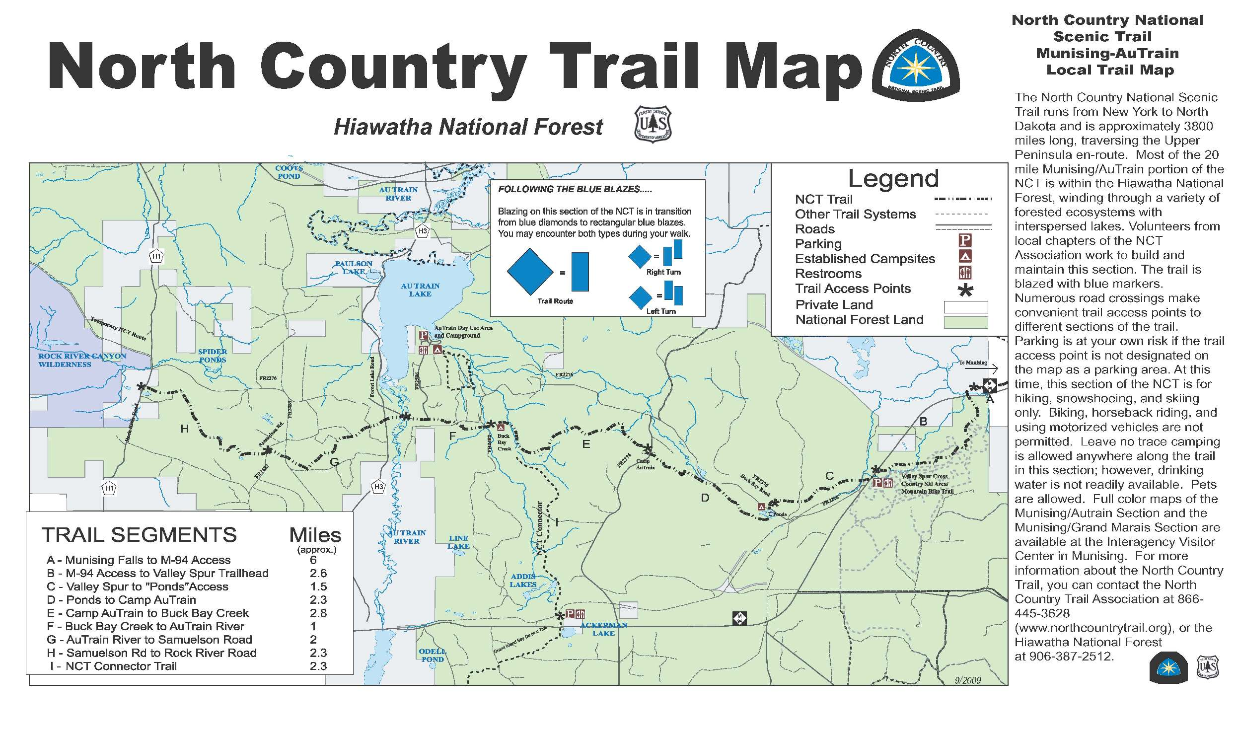 North Country Trail Map on West side of Hiawatha
