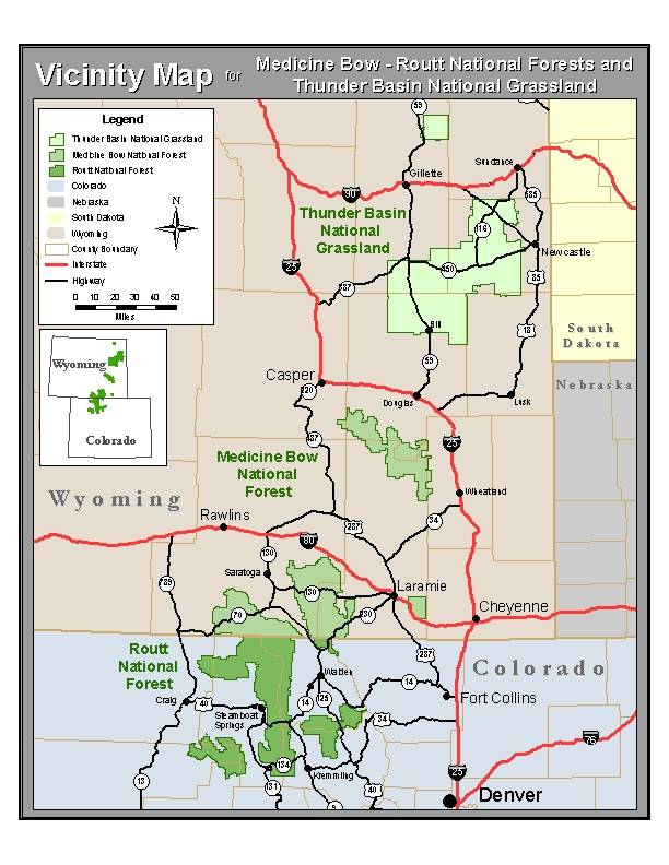 Vicinity map for the national forests and national grassland.