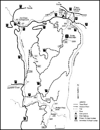 A map depicting trails and developed sites in the Burley Area of Cowlitz Valley.