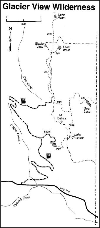 A map depicting trails in the Glacier View area within the Cowlitz Valley vicinity.