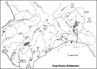 A map depicting trails in the Goat Rocks area within the Cowlitz Valley vicinity.
