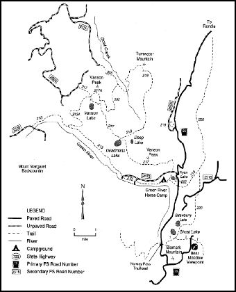 A map depicting trails in the Green River area within the Cowlitz Valley vicinity.