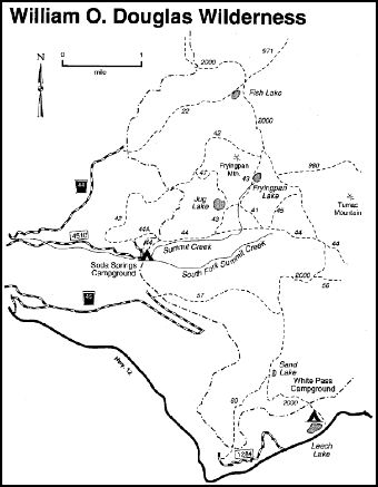 A map depicting trails in the William O. Douglas area within the Cowlitz Valley vicinity.