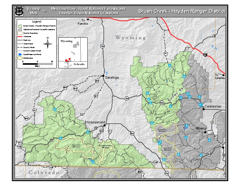 Vicinity map for the Brush Creek/Hayden Ranger District.