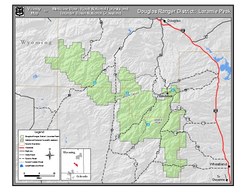 Vicinity map for the Laramie Peak portion of the Douglas Ranger District.