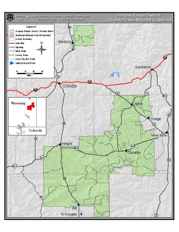 Vicinity map for the Thunder Basin National Grassland portion of the Douglas Ranger District.