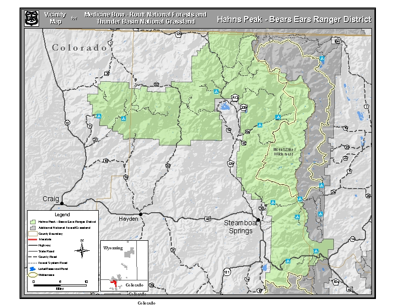 Vicinity map for the Hahns Peak/Bears Ears Ranger District.