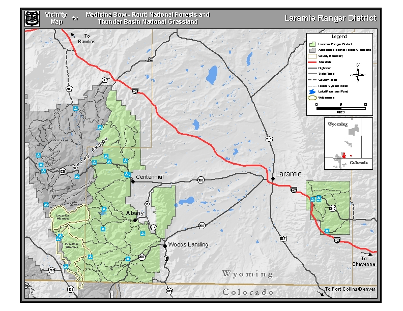 Vicinity map for the Laramie Ranger District.