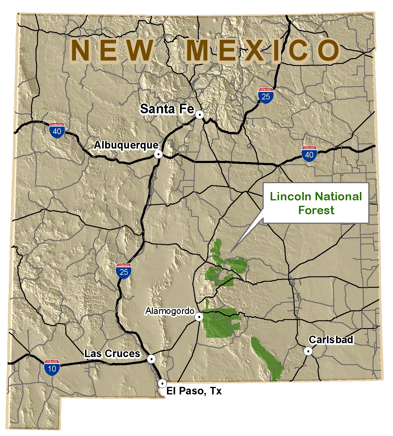 Image result for lincoln nat forest    NM  map