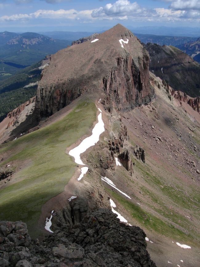 looking down at the ridge line to Redcliff Peak