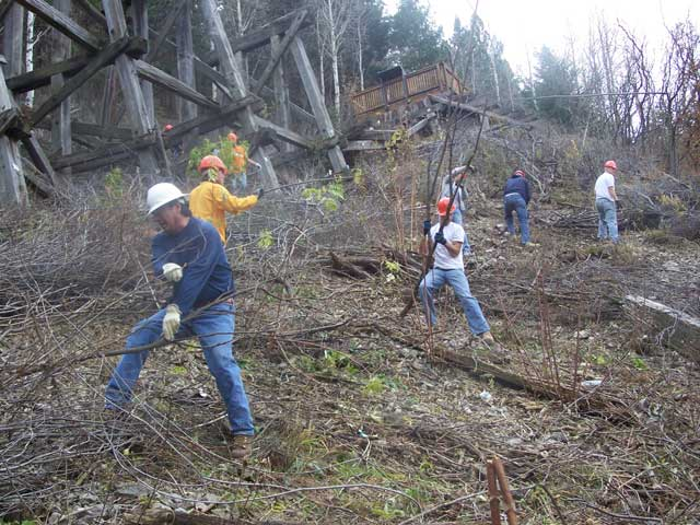 Holloman Air Force Base volunteers helping to clear brush from the base of the Trestle
