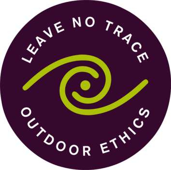 Leave No Trace logo.  Black circle with a green swirl, white text: Leave No Trace Outdoor Ethics.