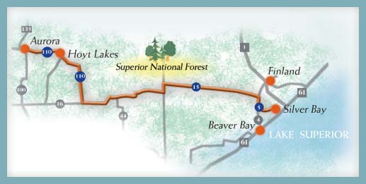 A map of the Superior NF Scenic Byway