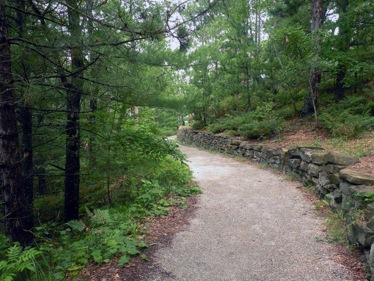 The trail to an observation deck at Lumberman's Monument Visitor Center.