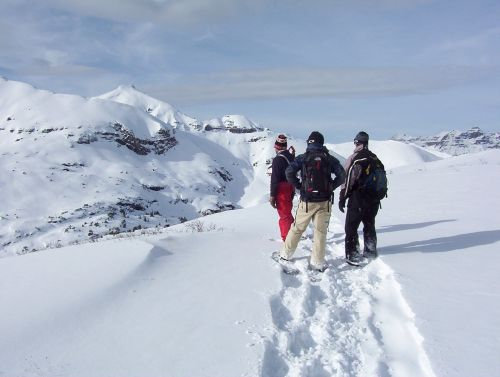 3 guys on snow covered area on snowshoes