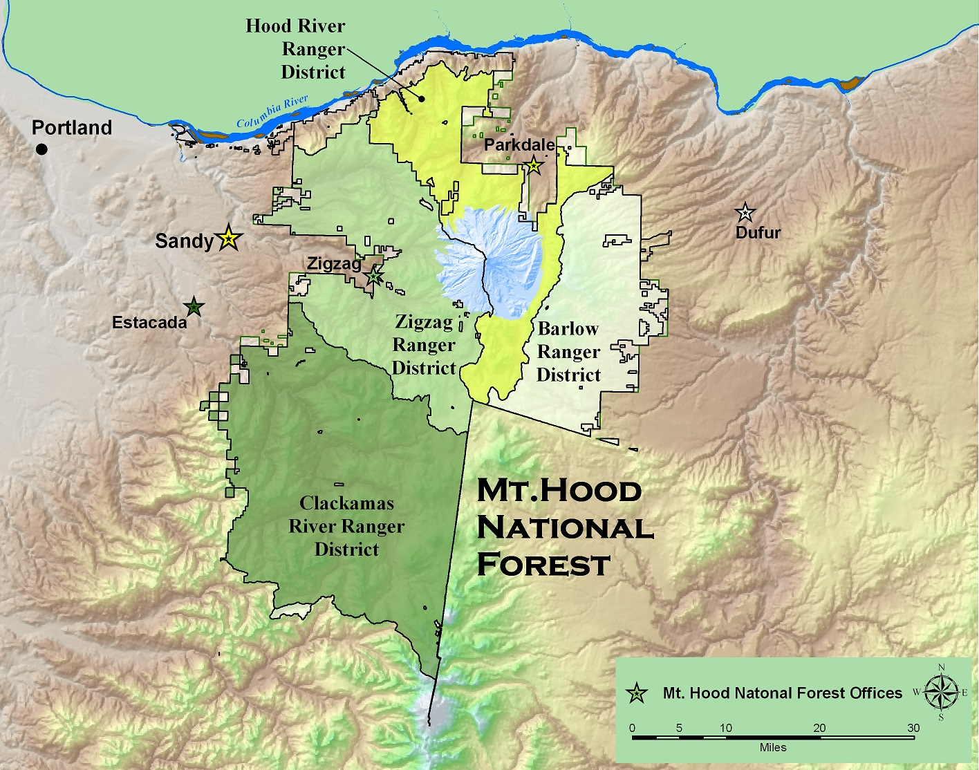 Mt Hood National Forest Districts - Us national forest fire map