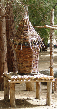 image of a basket on a straw bench