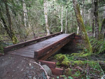 Wooden trail bridge for OHV riders on Huckleberry OHV Trail