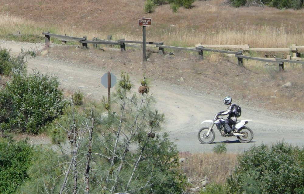 [Photograph]: Dirt Bike rider on trail in Fouts area.