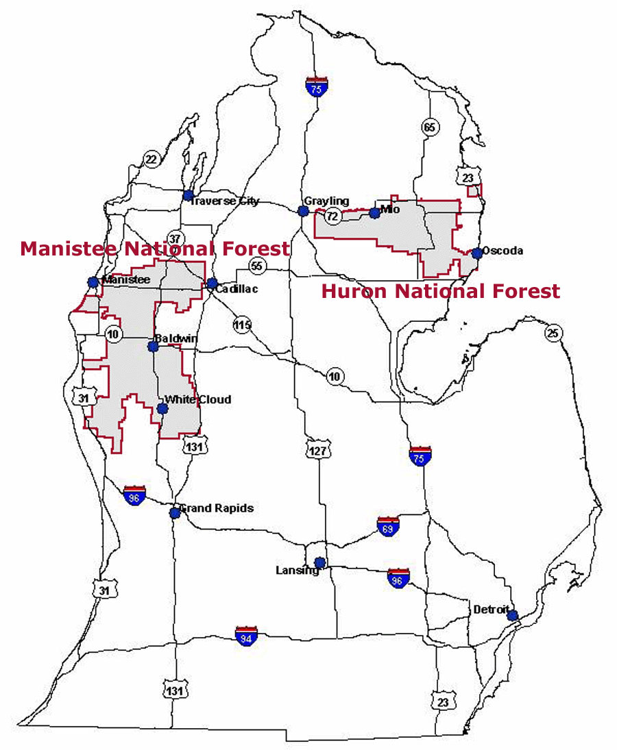 Map of the Huron-Manistee National Forests showing the location of the Forests within Michigan