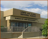 Front view of the Lewis and Clark National Forest Supervisor's Office in Great Falls, Montana