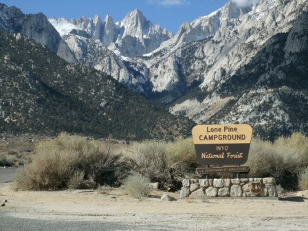 Entrance to Lone Pine Campground. Mt. Whitney is in the background.