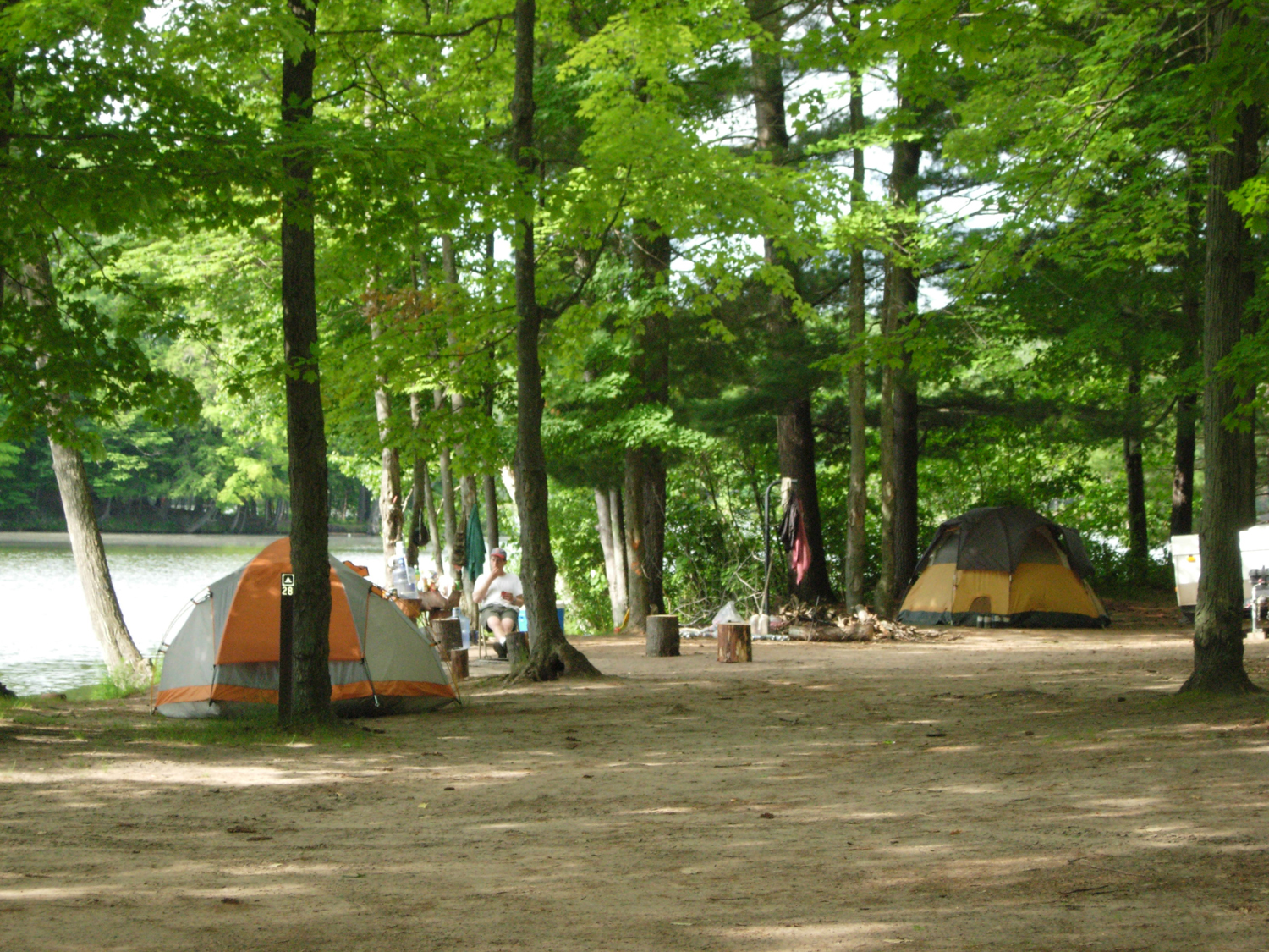 A campsite located on the Huron-Manistee National Forests
