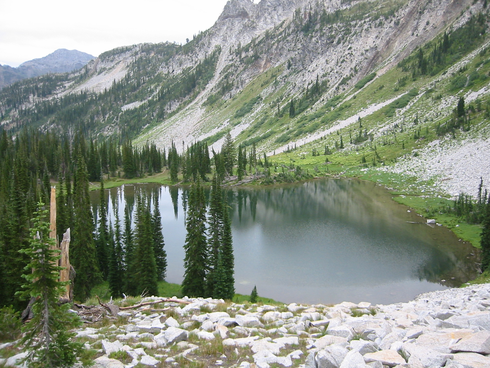 High subalpine lake in the wilderness