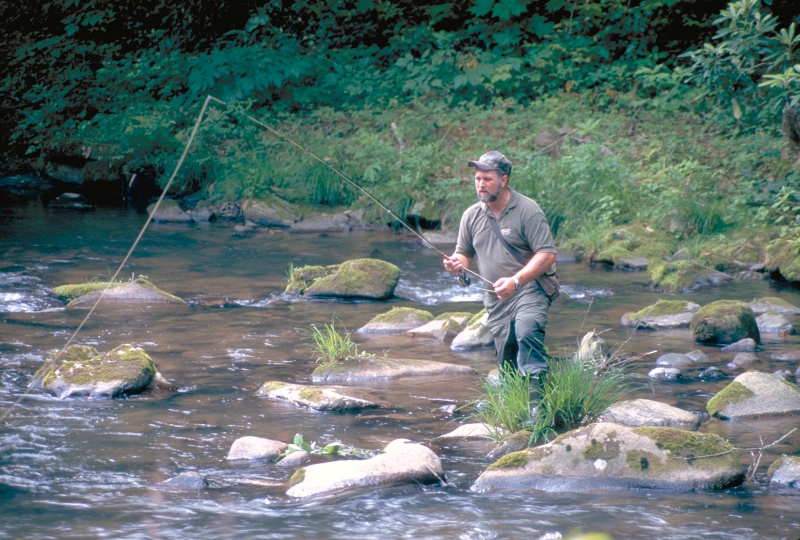 man fishing for trout in the river