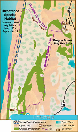 map of area around the Oregon Dunes Day Use showing recreation opportunities