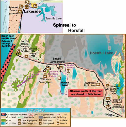 Map of the Spinreel to Horsfall area showing recreation opportunities