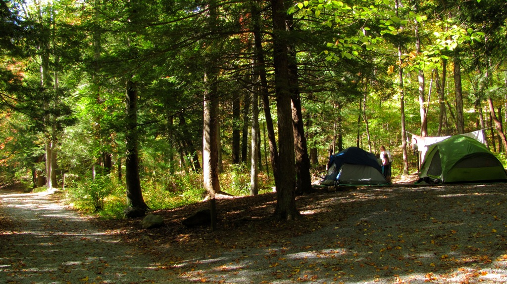 A family camping at Hickey Gap Campground