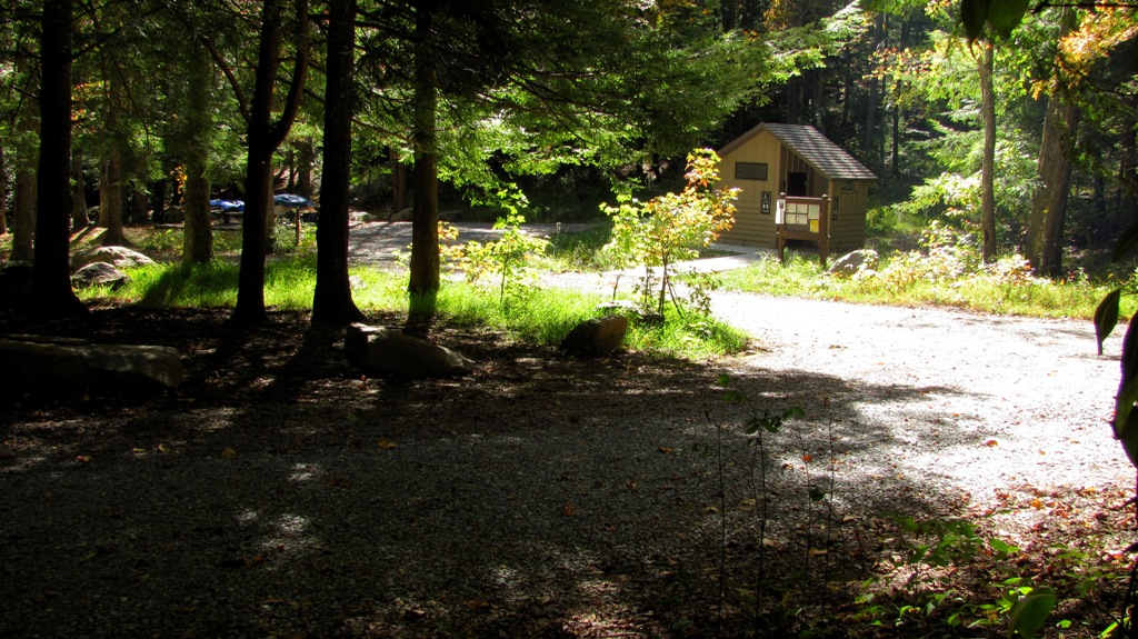 View through Hcickey Gap Campground to the restroom