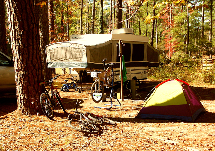 Camping in a campground in the forest